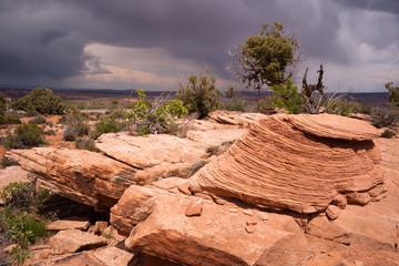 Rain Clouds Gather Over Rock Formations Utah Juniper Trees