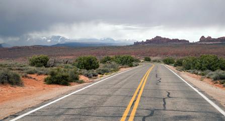Two Lane Highway Rock Buttes Utah Wilderness United States