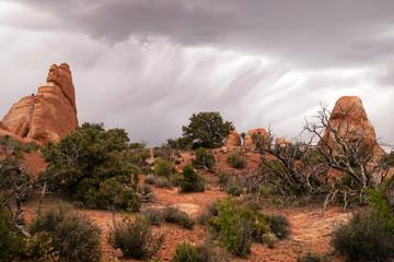 Rain Streaks Clouds Rock Formations Utah Juniper Trees