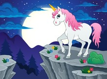 Night scenery with unicorn