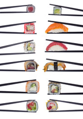 Many sushi rolls in chopsticks isolated on white background