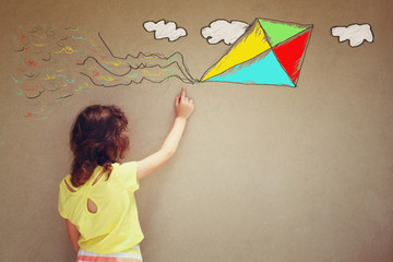 Photo of cute kid imagine flying kite. set of infographics