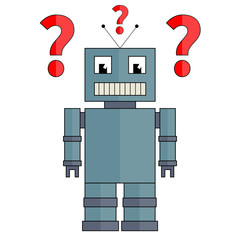 Fully vector robot with question marks