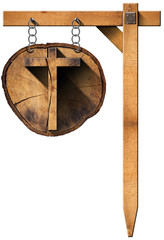 Wooden Cross on Tree Trunk with Chain