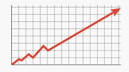 Business grwin arrow on black graph. Earning money