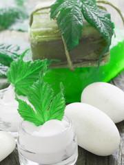organic cosmetics, fresh as green leaves