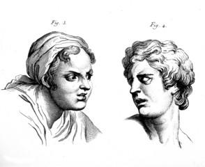 Human Face, Antique engraving
