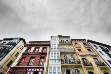 Houses in Bilbao with athletic team flags