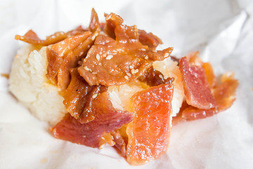 Sweet sticky rice with pork