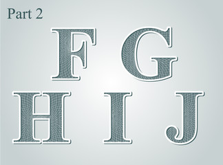 guilloche letters F G H I J