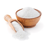 Regular table salt in a wooden bowl
