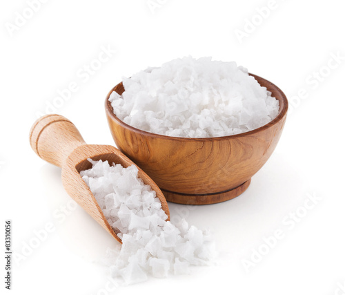 Leinwandbild Motiv Cyprus sea salt flakes in a wooden bowl
