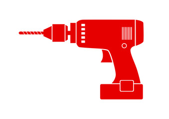 Red drill icon on white background