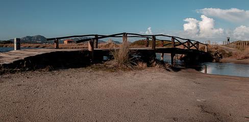 antico ponte in legno che attraversa lo stagno