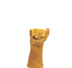 hand in leather work gloves Isolated on a white background.count
