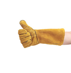 hand in leather work gloves Isolated on a white background.good