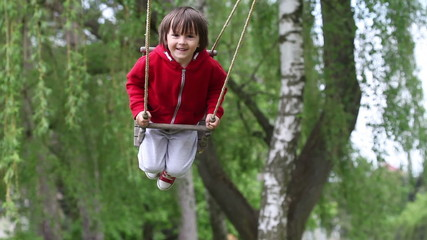 Adorable little boy, swinging happily in the park, daytime