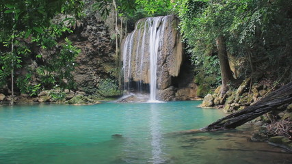 Erawan Waterfall in the Forest National Park of Thailand,Video
