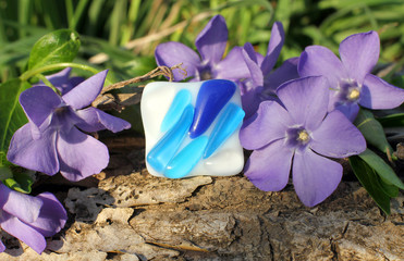 beautiful Handmade glass ring on the nature background