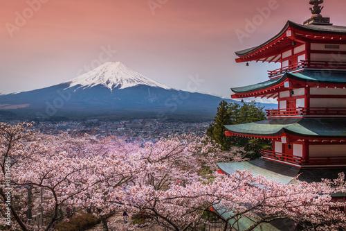 Poster Chureito Pagoda with sakura & Beautiful Mt.fuji View