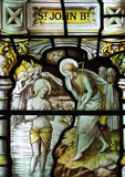 The baptism of Jesus Christ in stained glass