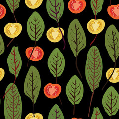 Chard and tomatoes, seamless vector pattern