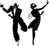 Fototapety Vector silhouette of a couple dancing the Charleston