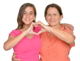 Hispanic teenage girl and her grandmother