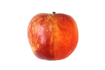 Wrinkled and fresh apple isolated on white background