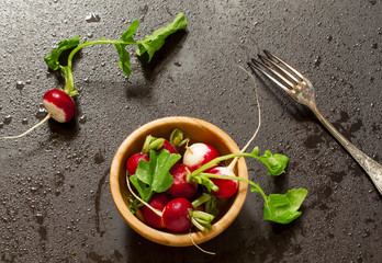 Сoncept of vegan food - radishes with water drops, selective fo