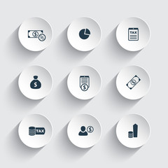 tax, finance, money, income round 3d icons