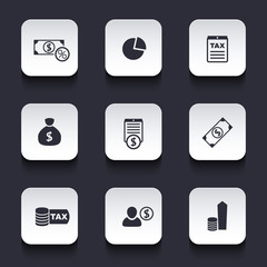 tax, finance, money, income rounded square icons