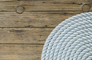 Rope Coil on wooden background