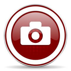 camera red glossy web icon