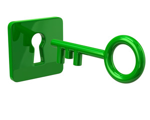 Green key and keyhole