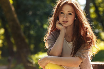 Portrait of beautiful red hair woman.