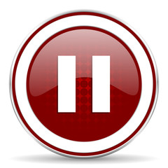 pause red glossy web icon