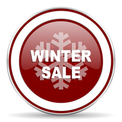 winter sale red glossy web icon