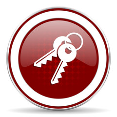 keys red glossy web icon
