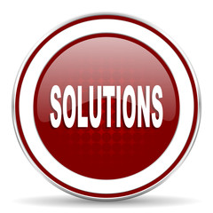 solutions red glossy web icon
