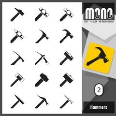 Mono Icons - Hammers 2. Flat monochromatic icons