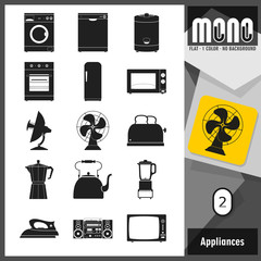 Mono Icons - Appliances 2. Flat monochromatic icons. Retro style