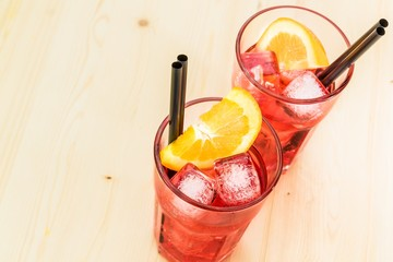 close-up of glasses of spritz aperitif aperol cocktail