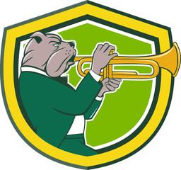 Bulldog Blowing Trumpet Side Shield Cartoon