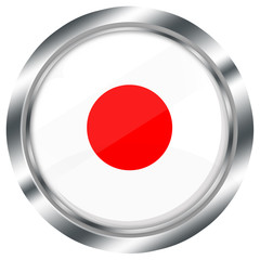runder japan flagge button für web design, glossy,