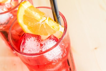 close-up of glass of spritz  cocktail with orange slices,ice
