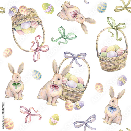 Cotton fabric Rabbit with Easter basket on a white background