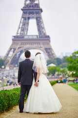 Just married couple in Paris near the Eiffel tower