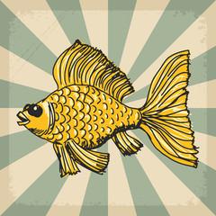 vintage background with goldfish