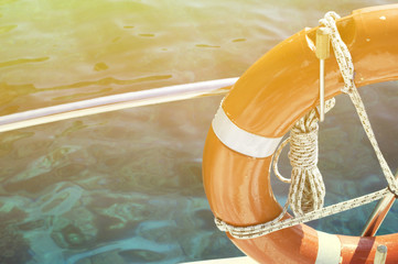 Life buoy attached to the cruise ship